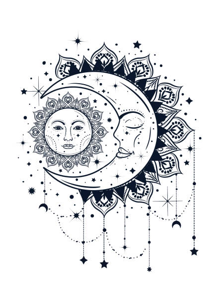 Vintage boho illustration of sun and moon. Dreamcatcher concept vector art illustration