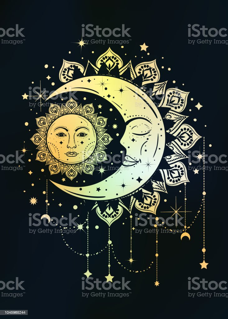 Boho Vintage ilustración del sol y la luna. Concepto del cazador de sueños - ilustración de arte vectorial
