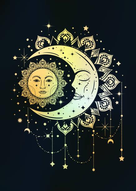 ilustraciones, imágenes clip art, dibujos animados e iconos de stock de boho vintage ilustración del sol y la luna. concepto del cazador de sueños - tatuajes de luna