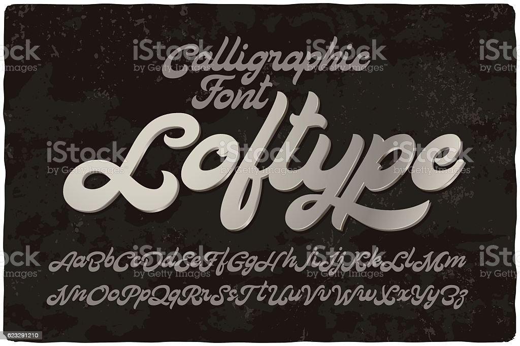 Vintage bold calligraphic brush font named loftype