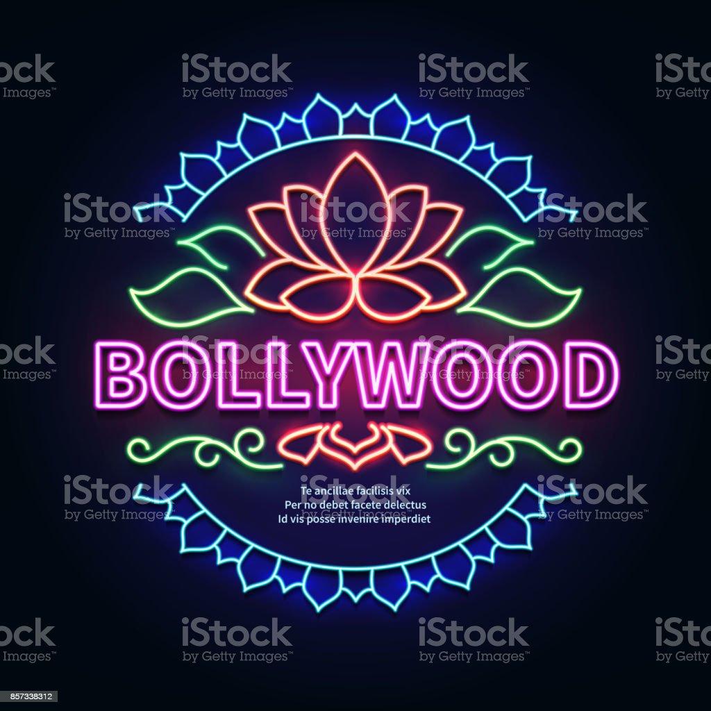 Vintage bollywood movie signboard. Glowing retro indian cinema neon vector sign vector art illustration