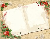 Vintage Book with Christmas Decorations