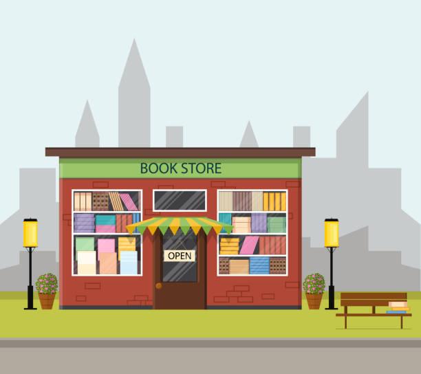 Vintage bookstore. Flat style. vector art illustration