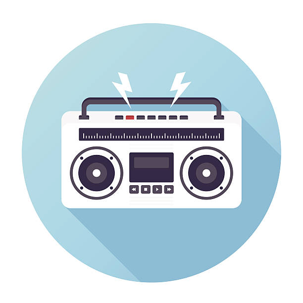 Vintage Boom Box Flat & Long Shadow Ghetto Blaster Icon stereo stock illustrations