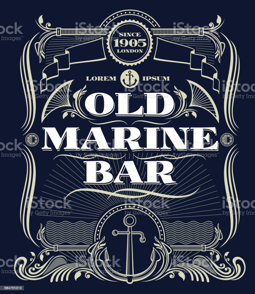 Vintage border western vector frame, old marine bar label – Vektorgrafik