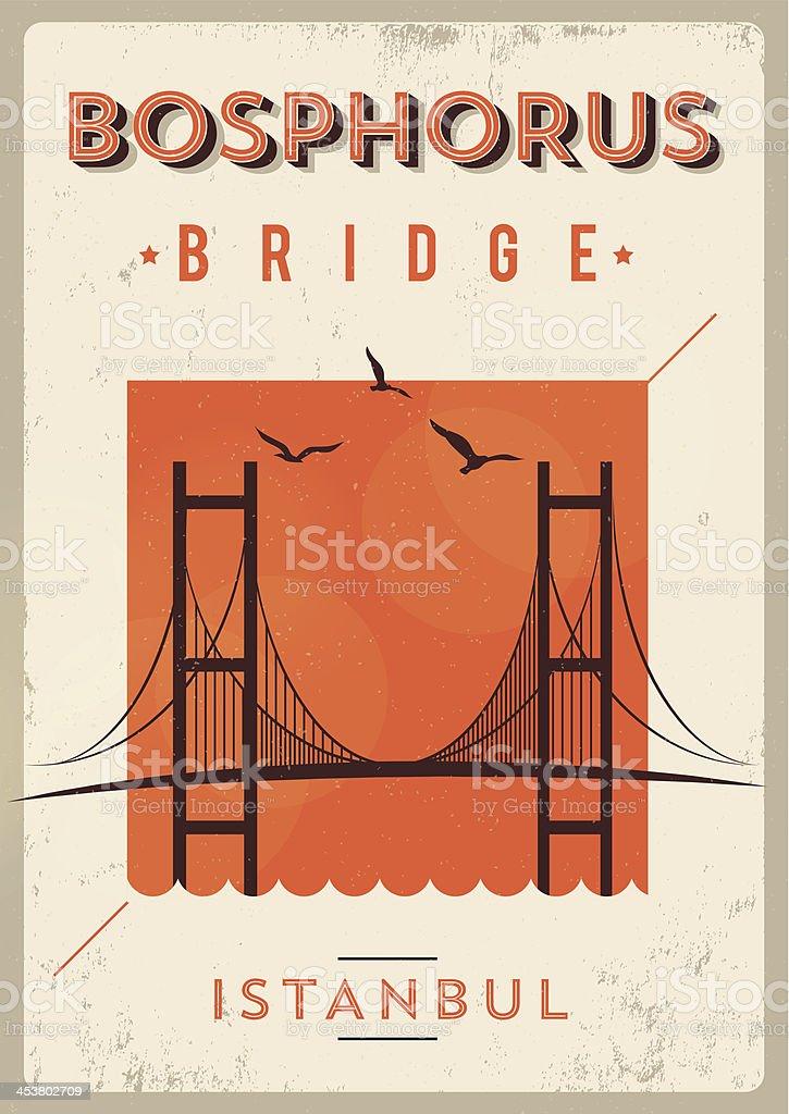 Vintage Bosphorus Bridge - Istanbul Poster vector art illustration