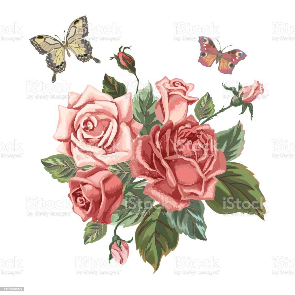 Vintage Blumenstrauss Mit Rosen Stock Vektor Art Und Mehr Bilder Von