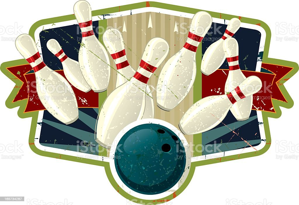 Vintage bowling crest with ball knocking down pins vector art illustration