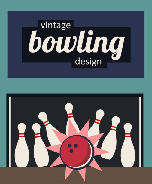 Vintage bowling design - strike in the old-fashioned colors vector art illustration