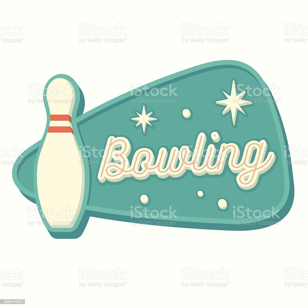 Vintage Bowling Sign vector art illustration