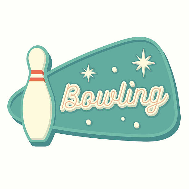 Vintage Bowling Sign Vintage bowling sign in traditional American style. Isolated vector illustration. ten pin bowling stock illustrations