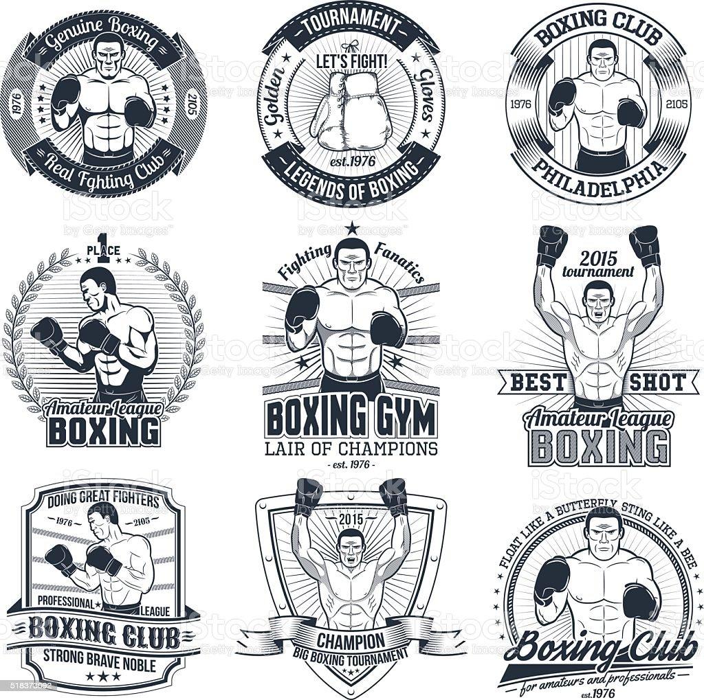 Vintage boxing logos vector art illustration