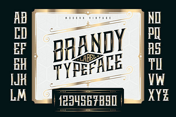 Vintage Brandy Label Typeface with classic ornate and pattern Vintage Brandy Label Typeface with classic ornate and pattern alphabet borders stock illustrations