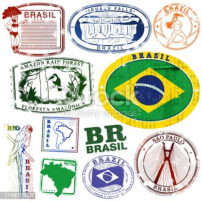 Vintage Brazil Travel Stamps