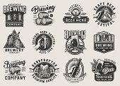 Vintage brewery monochrome emblems