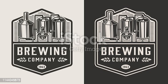 Vintage brewery monochrome logotype with brewing equipment isolated vector illustration