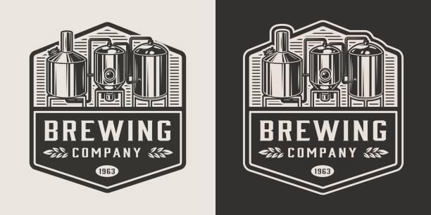 vintage brewery monochrome logotype - brewery tanks stock illustrations
