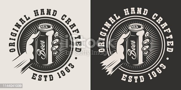 Vintage brewery monochrome print with male hand holding beer can isolated vector illustration