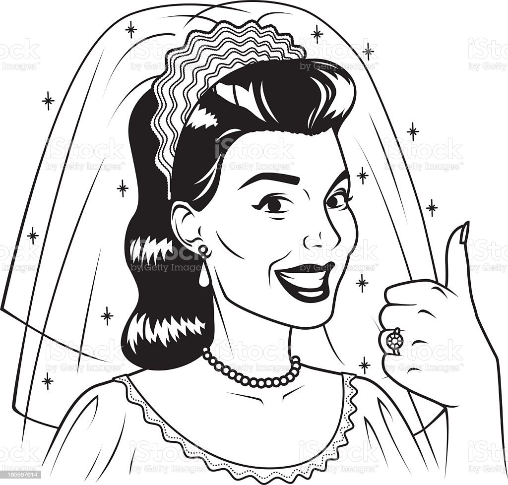 Vintage Bride Giving The Thumbs Up Royalty Free Stock