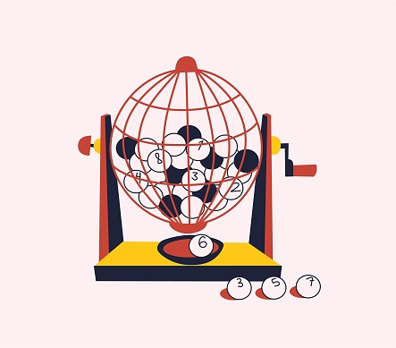 Vintage bright vector illustration of Spanish Christmas Lottery draw. Spherical cage with wooden balls with winning ticket numbers. Spanish traditional El Gordo prize. Festive decoration advertising