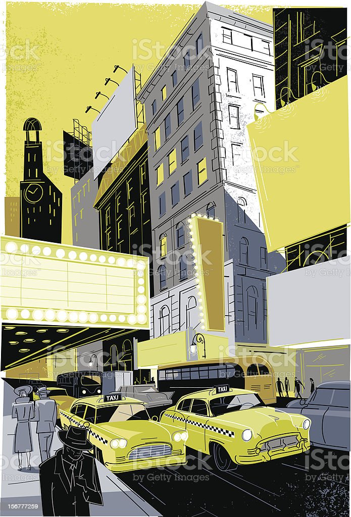 Vintage Broadway vector art illustration