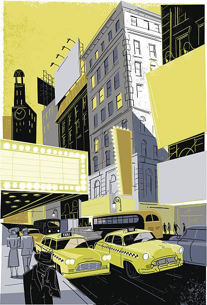 Vintage Broadway vector art illustration