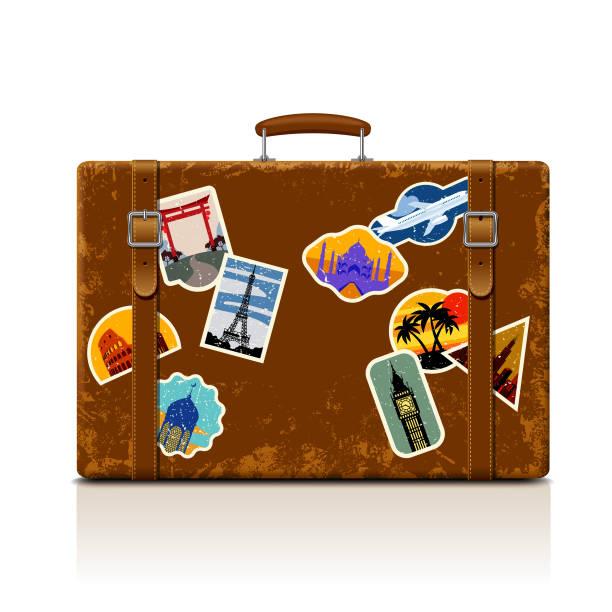 Vintage braun fadenscheinig Koffer mit Sammlung von Retro-Grunge Urlaub & Reisen Etiketten – Vektorgrafik
