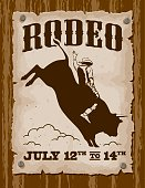 An aged poster nailed to a wooden wall advertising a rodeo. File is layered and grouped for easy editing. No gradients or transparencies were used.