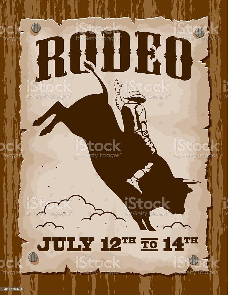 Vintage Bullriding Rodeo Poster vector art illustration