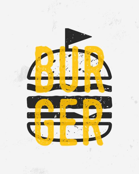 vintage-burger-logo, poster. burger mit grunge textur. druck für t-shirt, typografie. trendiges poster für café, restaurant, fast food. vektor-illustration - hamburger schnellgericht stock-grafiken, -clipart, -cartoons und -symbole