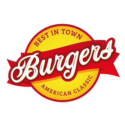Vintage Burgers sign lettering stamp