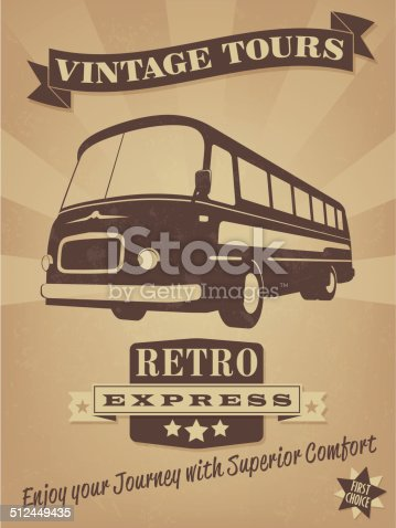 Vector Illustration of vintage bus with banner, badge and grunge texture