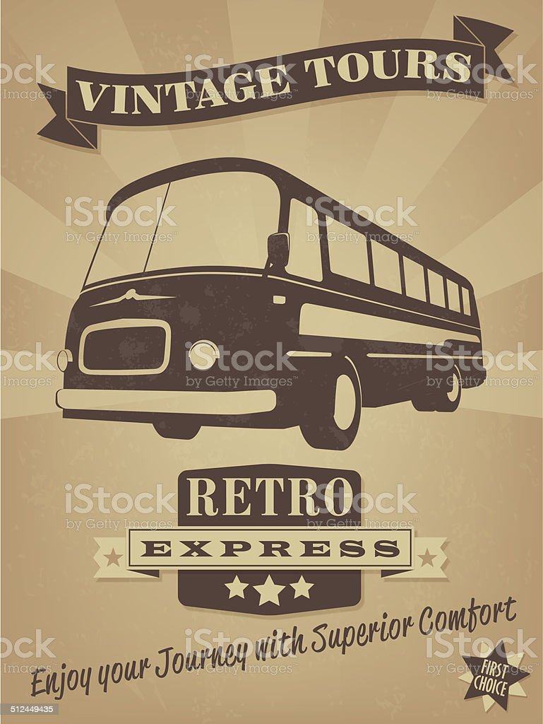 Vintage Bus Retro Advertising Poster vector art illustration