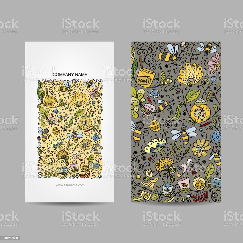 Vintage Visitenkarten Floral Honigdesign Stock Vektor Art