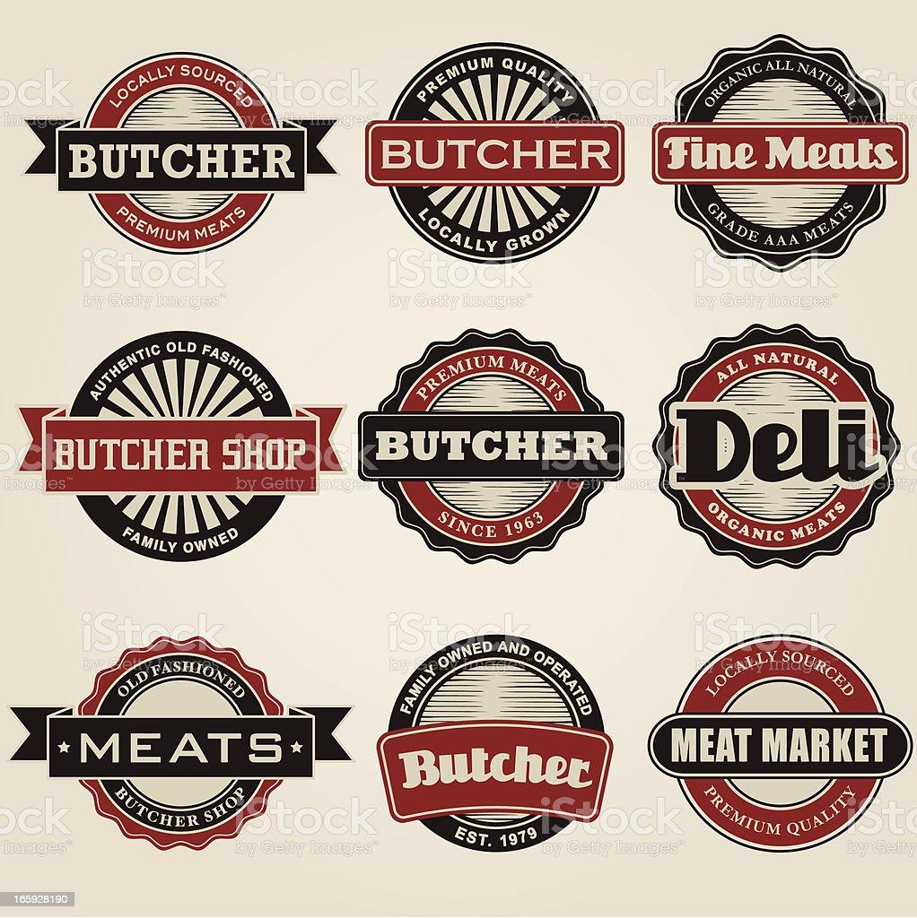 Vintage Butcher Icon Set royalty-free stock vector art