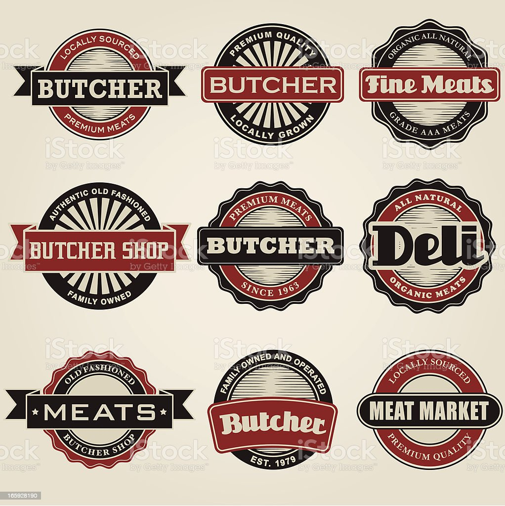 Vintage Butcher Icon-Set – Vektorgrafik