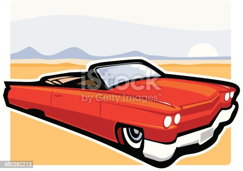 American convertible car cruising. A classic, vector formatted cartoon of a 1959 Cadillac. Easily change colors and separate from the background. Cool solution for Americana or retro concept.