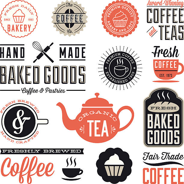 Vintage Cafe and Bakery Designs Set of vintage labels and design elements. Colors are global and each design is grouped for easy editing.  Download includes zipped AI file with unexpanded text which can be edited. bread borders stock illustrations
