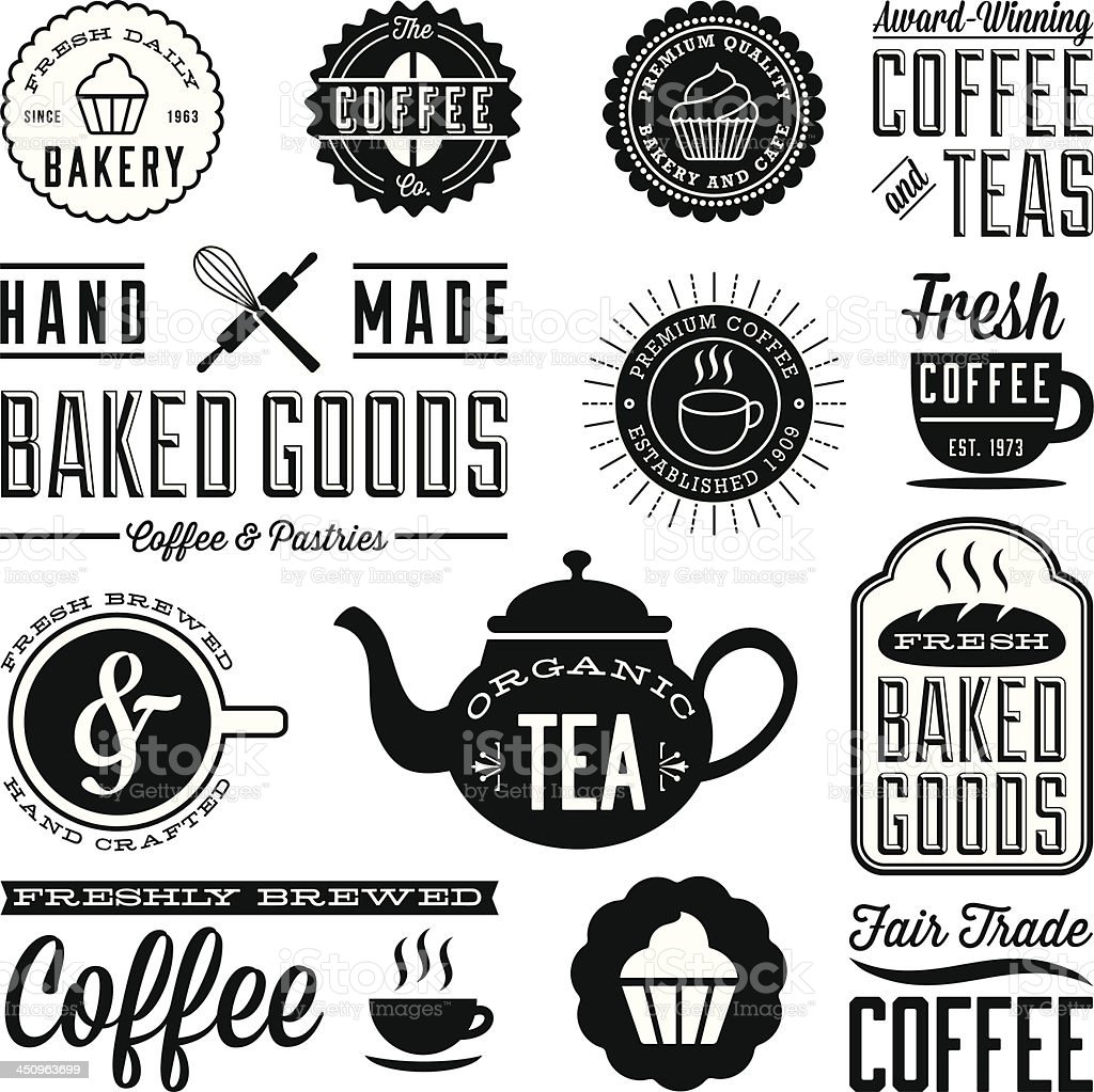 Vintage Cafe and Bakery Designs vector art illustration