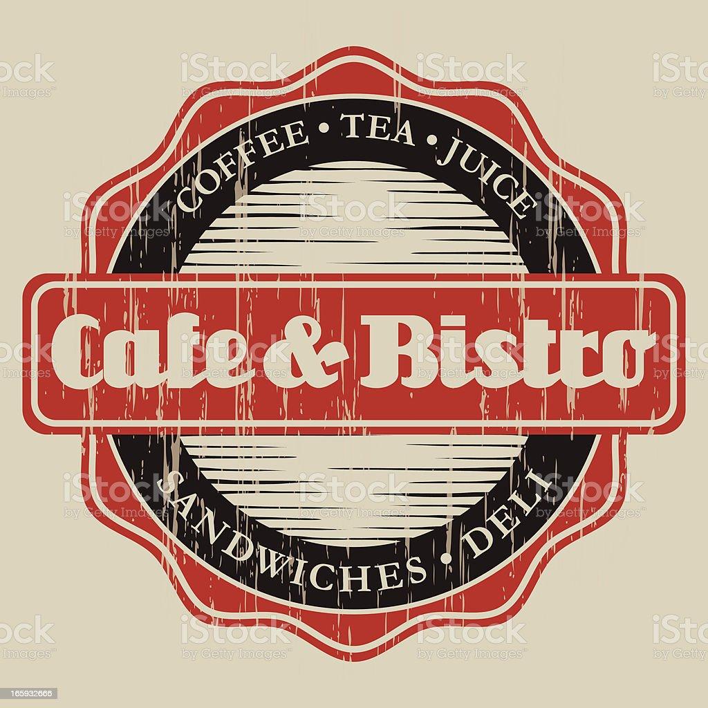 Vintage Cafe & Bistro Label vector art illustration