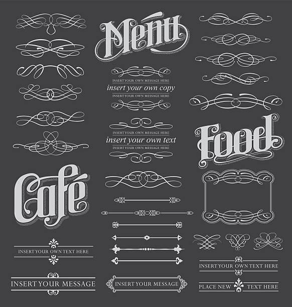 Vintage cafe menu with decorative border vector art illustration