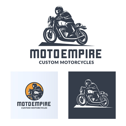 Vintage cafe racer motorcycle icons
