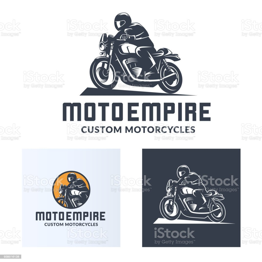 Vintage cafe racer motorcycle icons vector art illustration