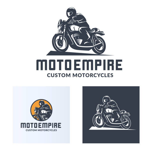 vintage cafe racer motorcycle icons - motorcycle stock illustrations, clip art, cartoons, & icons
