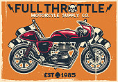 vector of vintage cafe racer motorcycle poster