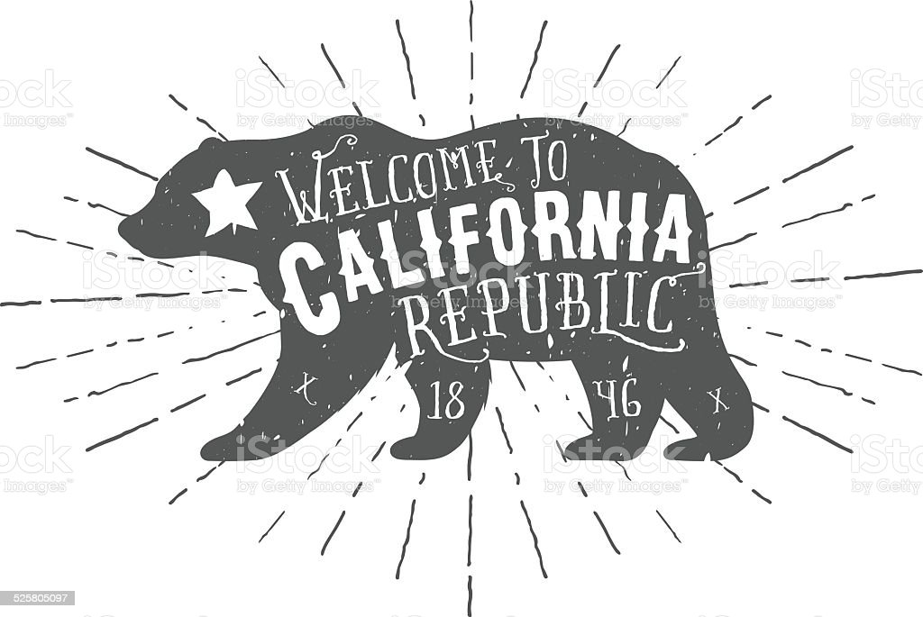 Vintage California Republic bear with sunbursts vector art illustration
