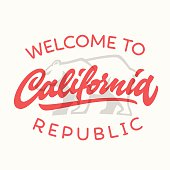 Vintage california republic calligraphic handwritten t-shirt app