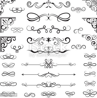 Vintage calligraphic borders. Floral dividers and corners for decoration designs ornate vector elements. Illustration of floral, vintage divider and border for book page