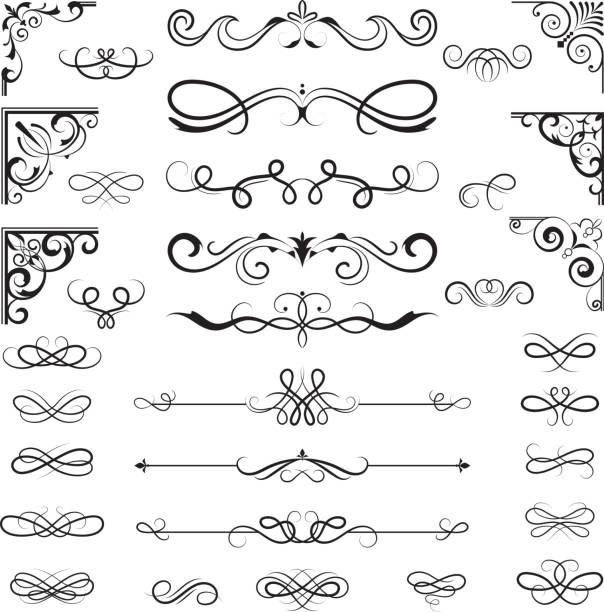 stockillustraties, clipart, cartoons en iconen met vintage kalligrafische randen. floral dividers en hoeken voor decoratie ontwerpt sierlijke vectorelementen - maaswerk