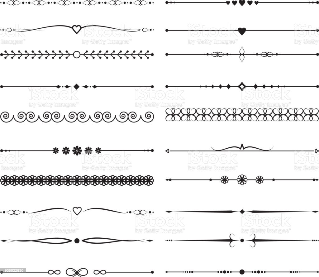 Vintage diviseurs calligraphiques. Décoration de mariage fait main vector - Illustration vectorielle